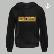 Hoodie zwart opdruk goud Doe mij 1 push-up   Vinesdutch en BeU Marketing & PR