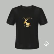 T-shirt zwart opdruk goud I'm just a Donkey | Vinesdutch en BeU Marketing & PR