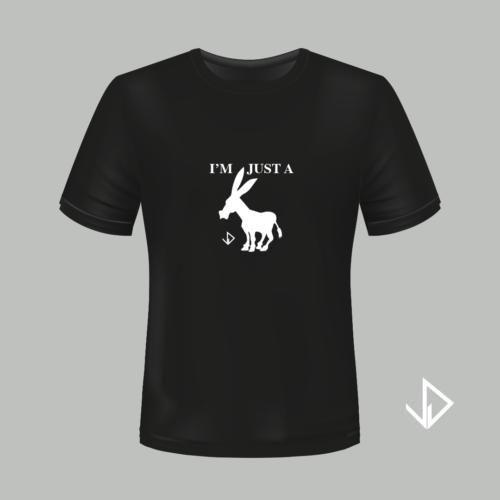 T-shirt zwart opdruk wit I'm just a Donkey | Vinesdutch en BeU Marketing & PR
