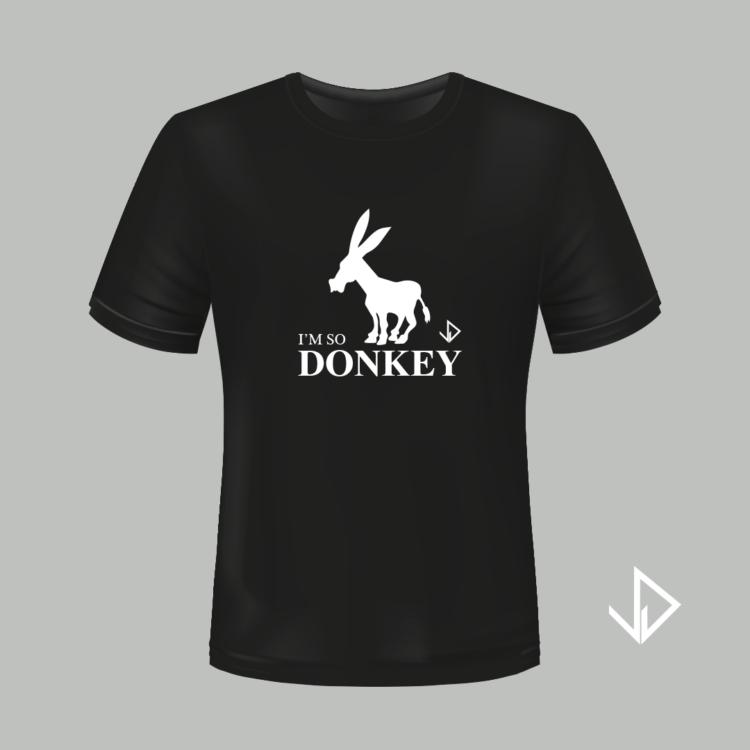 T-shirt zwart opdruk wit I'm so Donkey | Vinesdutch en BeU Marketing & PR
