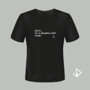 T-shirt zwart opdruk zilver Maar... ze is gelukkig niet dood! | Vinesdutch en BeU Marketing & PR