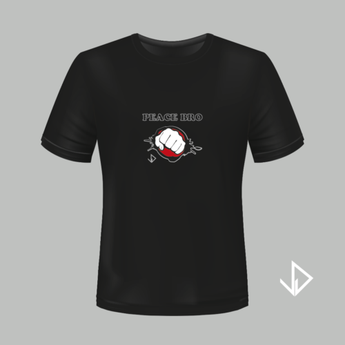 T-shirt zwart opdruk Peace Bro | Vinesdutch en BeU Marketing & PR