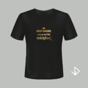 T-shirt zwart opdruk goud Vanaf morgen ook weer nuchter verkrijgbaar | Vinesdutch en BeU Marketing & PR