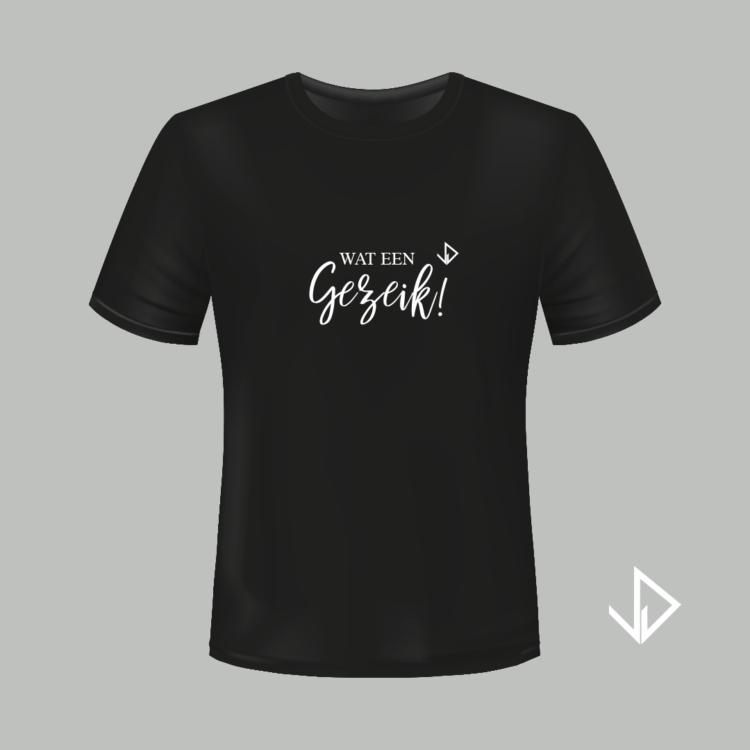 T-shirt zwart opdruk wit Wat een Gezeik! | Vinesdutch en BeU Marketing & PR