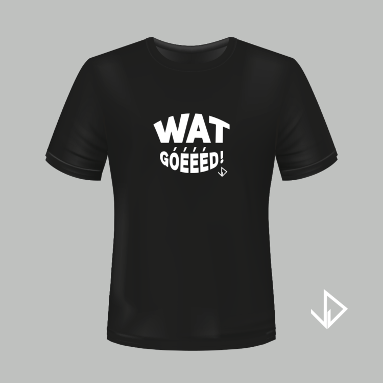 T-shirt zwart opdruk wit Wat goeeed   Vinesdutch en BeU Marketing & PR