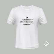 T-shirt wit opdruk zwart Goaj met Tractors kieken?   Vinesdutch en BeU Marketing & PR