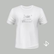T-shirt wit opdruk zilver Zombies want brains You are safe | Vinesdutch en BeU Marketing & PR