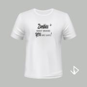 T-shirt wit opdruk zwart Zombies want brains You are safe | Vinesdutch en BeU Marketing & PR