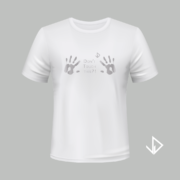 T-shirt wit opdruk zilver Don't touch this | Vinesdutch en BeU Marketing & PR