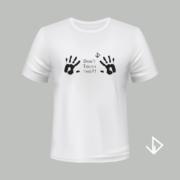 T-shirt wit opdruk zwart Don't touch this | Vinesdutch en BeU Marketing & PR