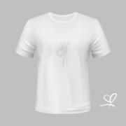 T-shirt wit Flash with fly opdruk zilver - Duna Fokwimi - BeU