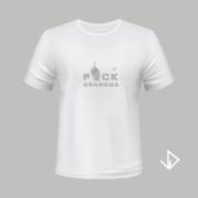 T-shirt wit opdruk zilver Fuck Grandma | Vinesdutch en BeU Marketing & PR