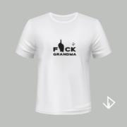 T-shirt wit opdruk zwart Fuck Grandma | Vinesdutch en BeU Marketing & PR