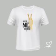 T-shirt wit Give me a change opdruk goud - Duna Fokwimi - BeU