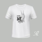 T-shirt wit Give me a change opdruk zilver - Duna Fokwimi - BeU
