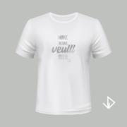 T-shirt wit opdruk zilver Høke neuke veulll bier   Vinesdutch en BeU Marketing & PR
