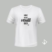 T-shirt wit opdruk zwart Høke neuke veulll bier   Vinesdutch en BeU Marketing & PR