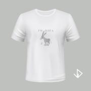 T-shirt wit opdruk zilver I'm just a Donkey | Vinesdutch en BeU Marketing & PR
