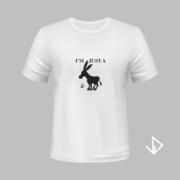 T-shirt wit opdruk zwart I'm just a Donkey | Vinesdutch en BeU Marketing & PR