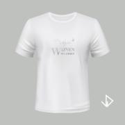 T-shirt wit opdruk zilver Wijnen wijnen wijnen | Vinesdutch en BeU Marketing & PR