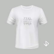 T-shirt wit opdruk zilver Zeg waar is het fuifje   Vinesdutch en BeU Marketing & PR