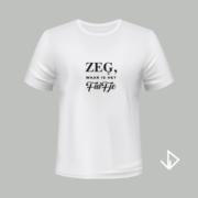 T-shirt wit opdruk zwart Zeg waar is het fuifje   Vinesdutch en BeU Marketing & PR