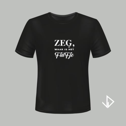 T-shirt zwart opdruk wit Zeg waar is het fuifje | Vinesdutch en BeU Marketing & PR