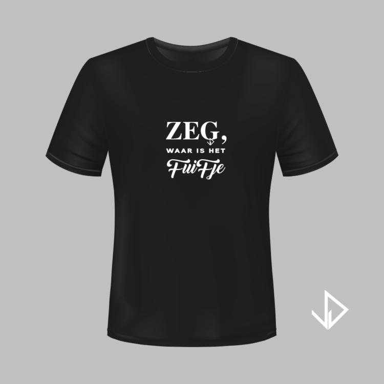 T-shirt zwart opdruk wit Zeg waar is het fuifje   Vinesdutch en BeU Marketing & PR