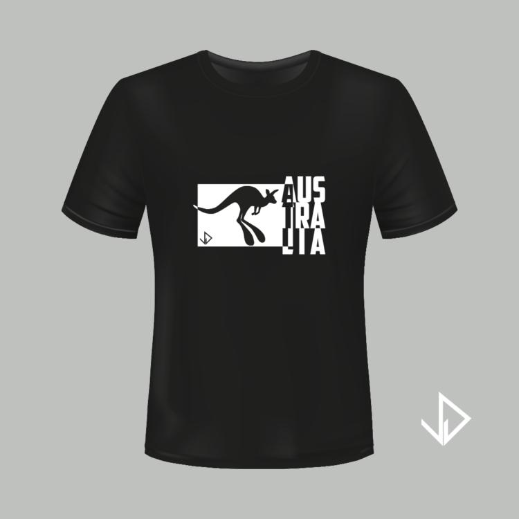 T-shirt zwart opdruk wit Australia   Vinesdutch en BeU Marketing & PR