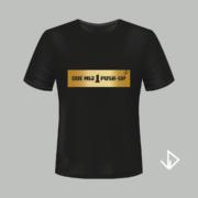 T-shirt zwart opdruk goud Doe mij 1 push-up | Vinesdutch en BeU Marketing & PR