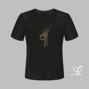 T-shirt zwart Flash with fly opdruk goud - Duna Fokwimi - BeU