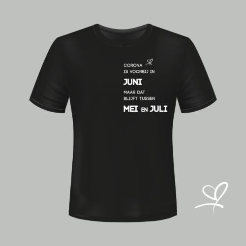 T-shirt zwart Corona is voorbij in juni maar dat blijft tussen mei en juli